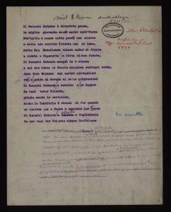Il General Cadorna. Testo Biblioteca Nazionale Austriaca. Si noteranno le particolarità del documento.