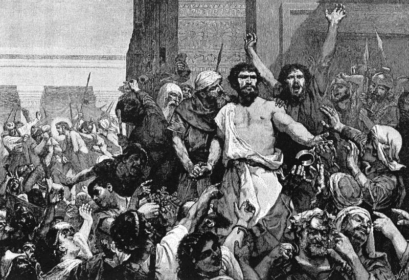 """Dacci Barabba!"". Illustrazione dal volume nono de ""The Bible and its Story Taught by One Thousand Picture Lessons"", pubblicata nel 1910 da Charles F. Horne and Julius A. Bewer."