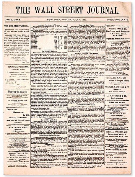 Primo numero de The Wall Street Journal