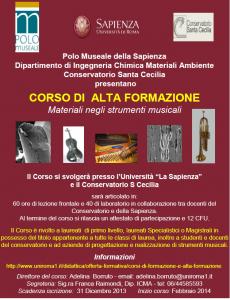Corso di Alta Formazione Materiali negli strumenti musicali Sapienza Conservatorio 001