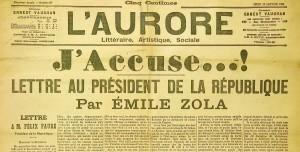 La pagina de L'Aurore con la lettera aperta dal titolo J'Accuse di Émile Zola