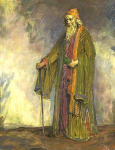 Sorprendentemente non ho trovato foto belle di contratti veneti; così accontentatevi di Sir Herbert Beerbohm Tree nei panni di Shylock, ritratto nel 1914 da Charles Buchel