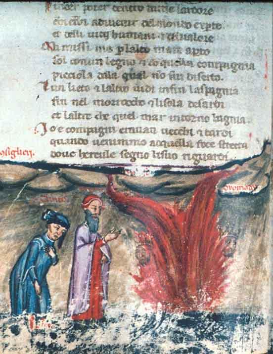 Dante, Inferno canto XXVI, incontra Ulisse nella fiamma a doppia lingua di fuoco, miniatura. MS. Holkham misc. 48, p. 40 Bodleian Library, U. of Oxford