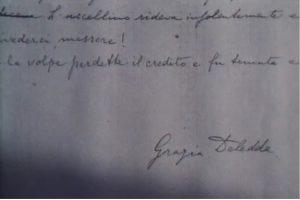 Firma autografa di Grazia Deledda