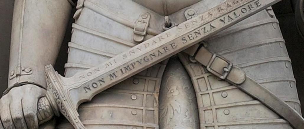 Temistocle Guerrazzi, Giovanni dalle Bande Nere, Firenze, Uffizi. Particolare della spada, scritta Non mi snudare senza ragione Non mi impugnare senza valore