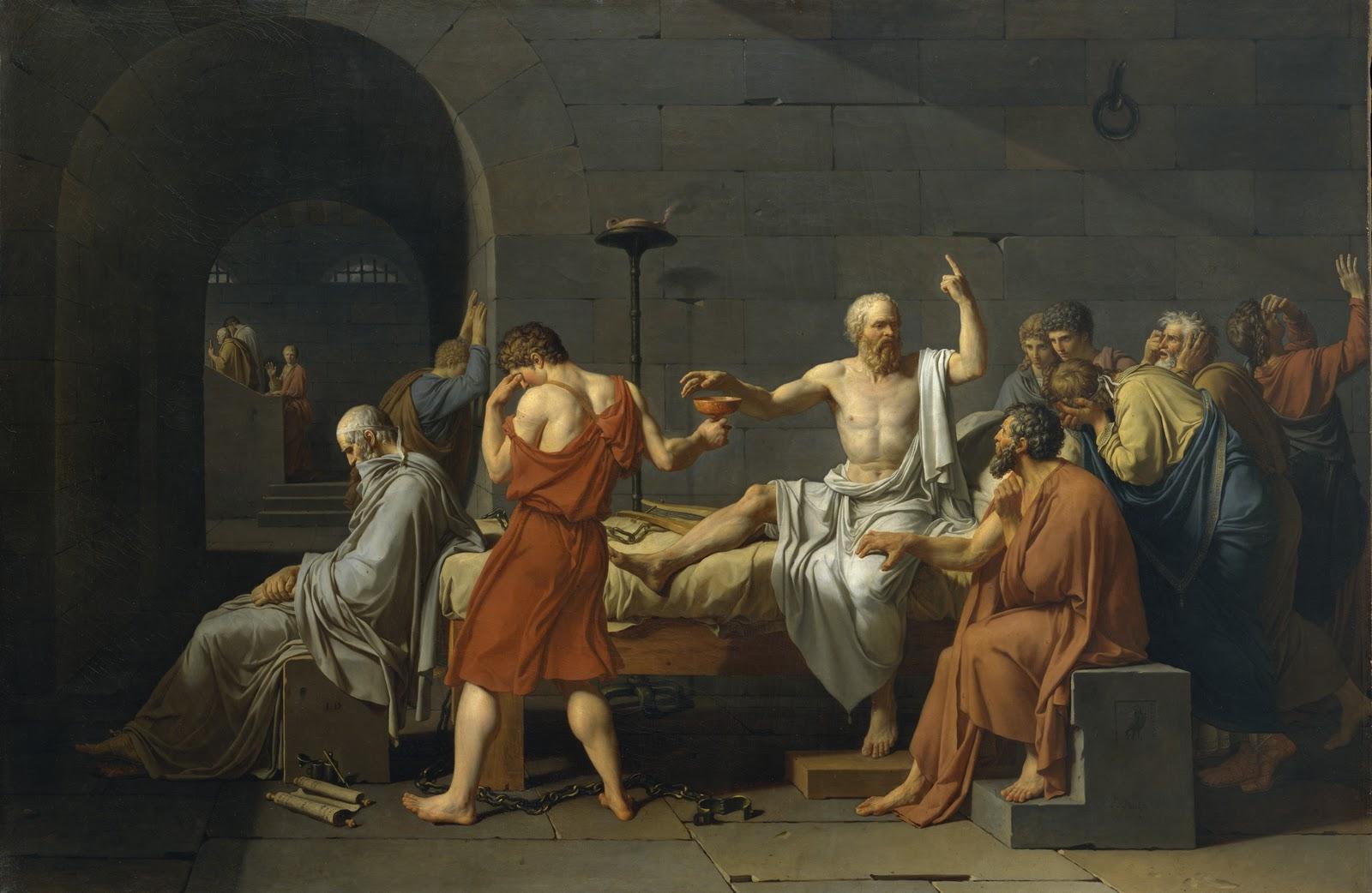 La morte di Socrate, Jacques-Louis David, 1787, olio su tela,129,5×196,2 cm, Metropolitan Museum of Art, New York