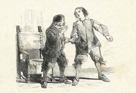 """Renzo e Don Abbondio, nel cap. II de """"I promessi sposi"""" nel famoso scambio di batture """"""""Error, conditio, votum, cognatio, crimen, Cultus disparitas, vis, ordo, ligamen, honestas, Si sis affinis,..."""" cominciava don Abbondio, contando sulla punta delle dita. """"Si piglia gioco di me?"""" interruppe il giovine. """"Che vuol ch'io faccia del suo latinorum?"""""""