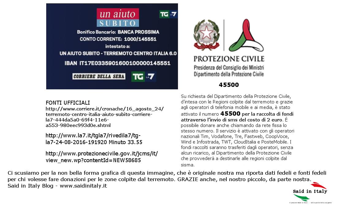 Said in Italy per il terremoto del 24 08 2016 e la raccolta fondi