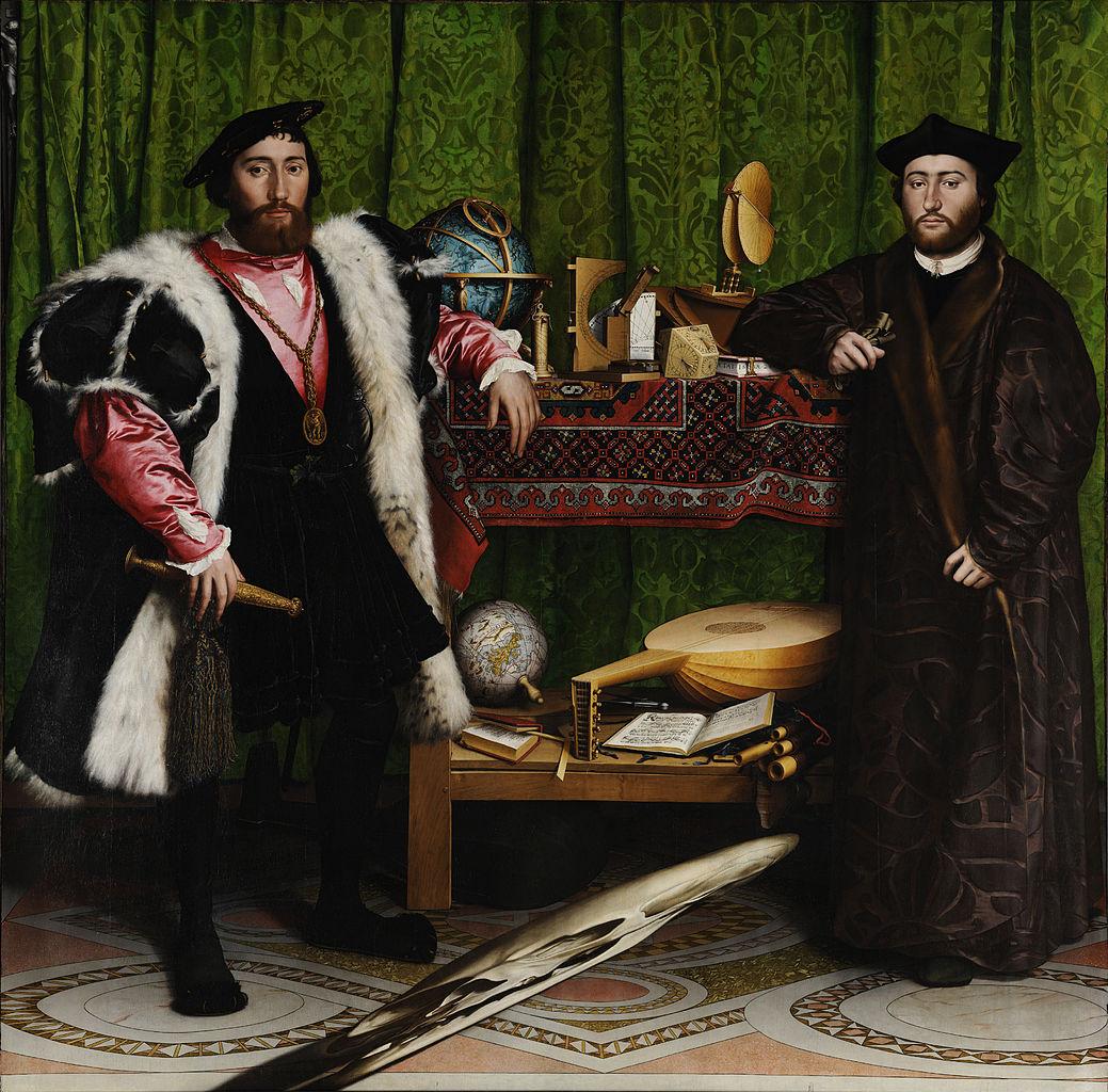 Ambasciatori, di Hans Holbein il Giovane, 1533, olio su tavola, 206x209 cm, National Gallery, Londra.