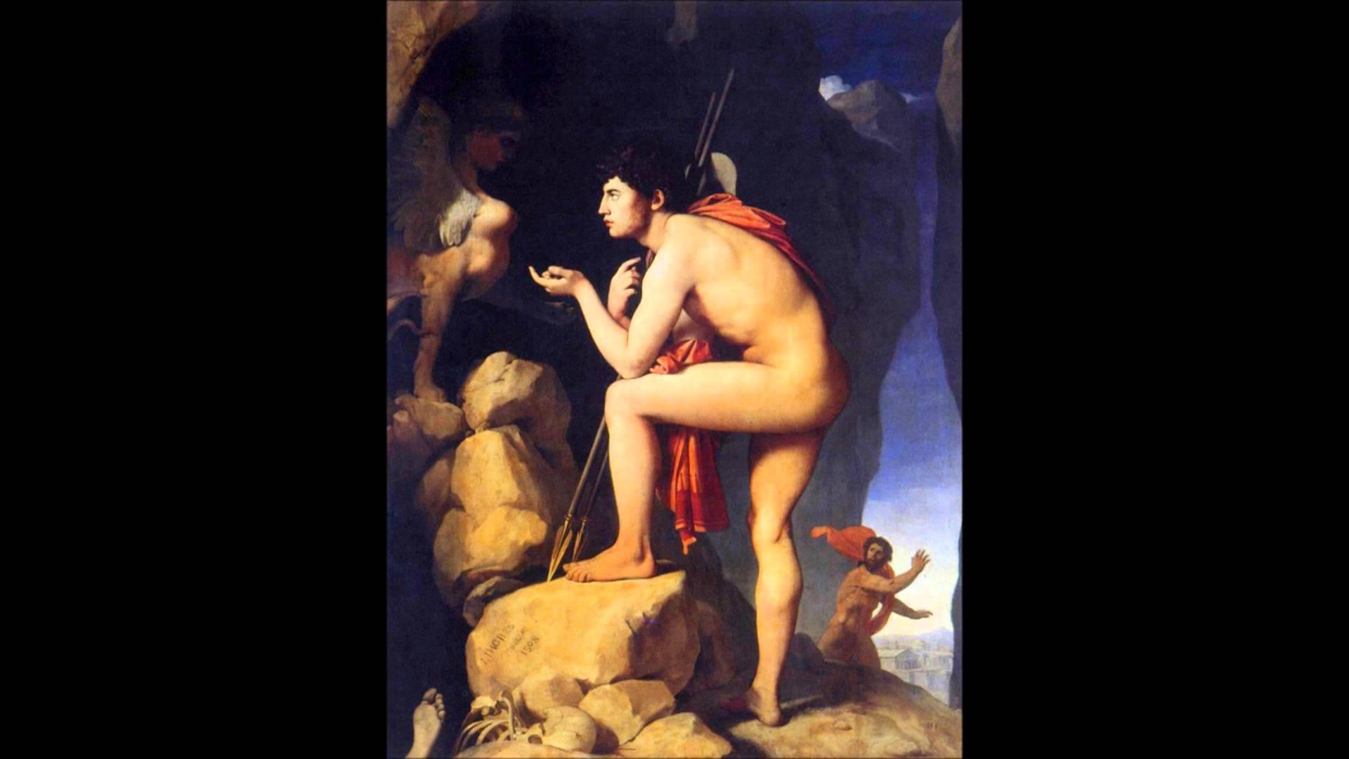 Ingres, Edipo e la Sfinge, 1808, olio su tela,189 x 144 cm, Museo del Louvre a Parigi.